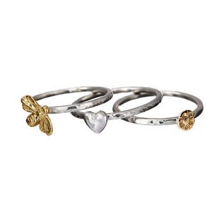 Stacking rings handcrafted with 9ct gold heart, butterfly and flower