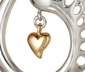 Children of Lir Elegant Swan Pendant Sterling Silver with Gold Heart.