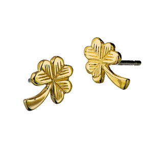 Gold Shamrock Stud Earrings, Irish jewellery handcrafted by Elena Brennan.