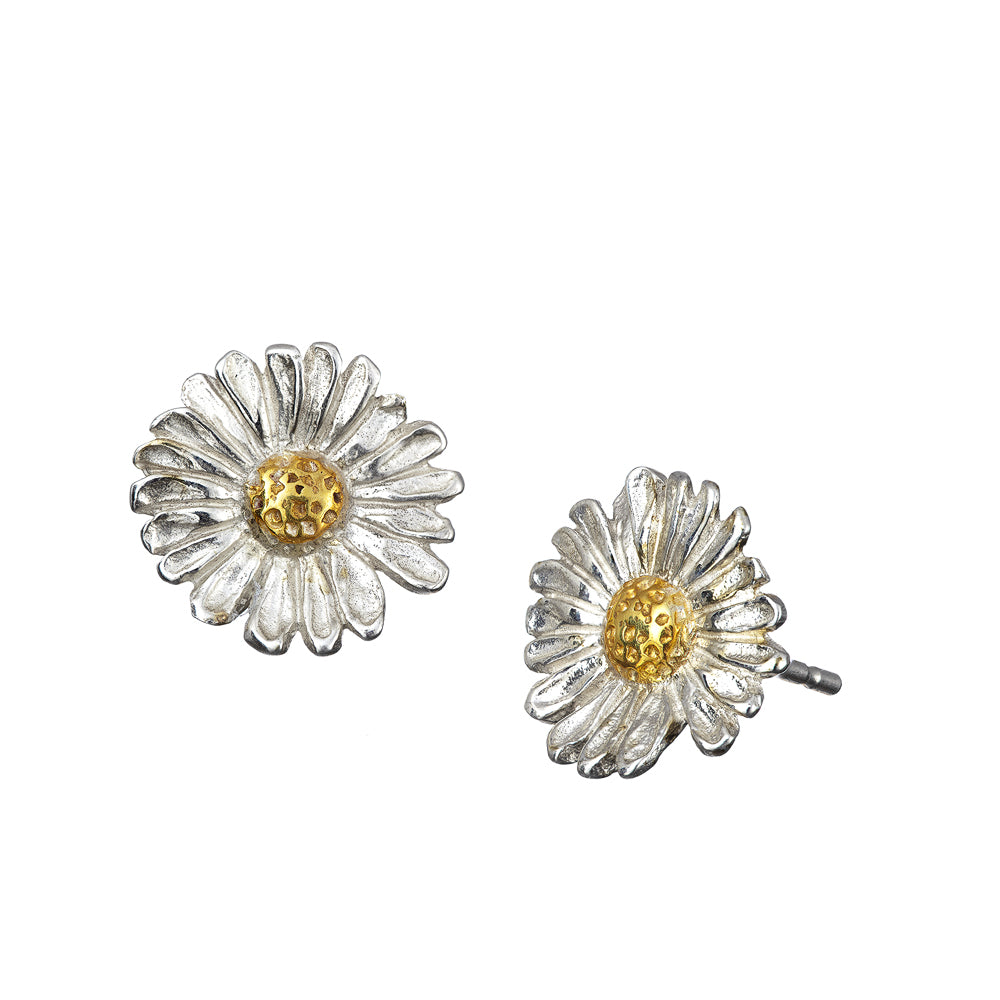 Daisy Stud Earrings handcrafted from Sterling Silver with 14ct gold centres.