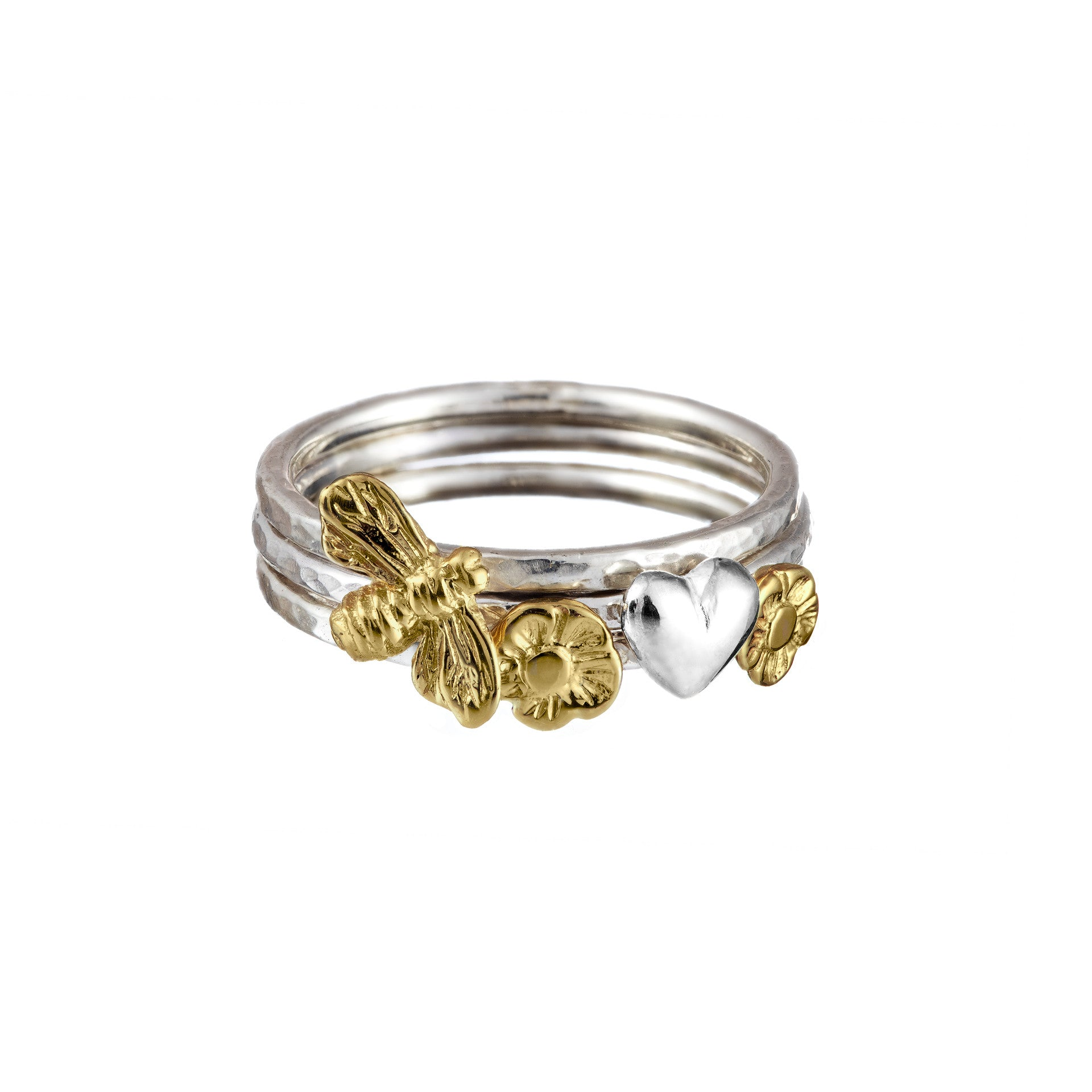 Stacking rings handcrafted from sterling silver with 9ct Gold Celtic Symbols.