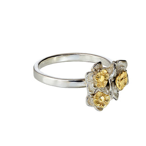 Forget-me-not Flower Ring with 9ct Gold Centres, showing the three dimensional shade of the flowers.