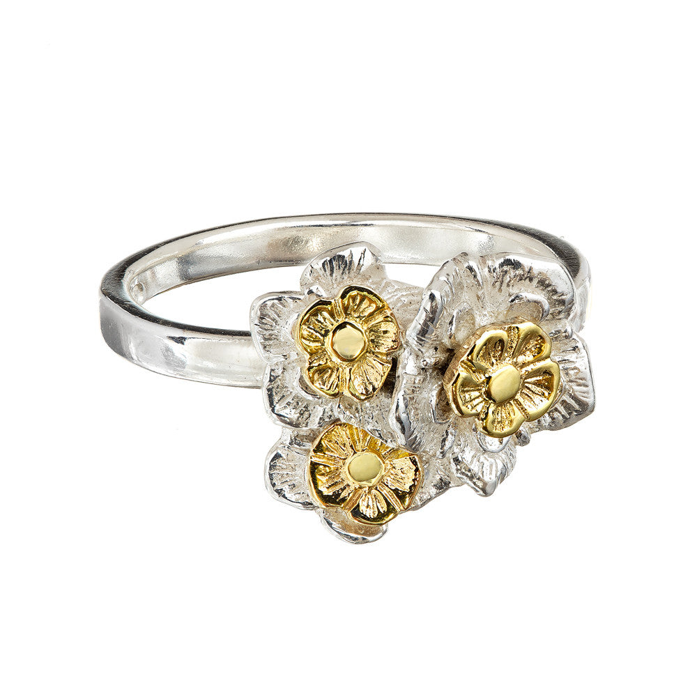 Forget-me-not Flower Ring with 9ct Gold Centres, part of Elena Brennan Jewellery's Oops A Daisy Collection