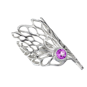 Gorgeous Gossamer Ring with a 6mm Amethyst gemstone setting.