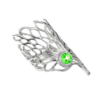Gorgeous Gossamer Ring with a 6mm Peridot gemstone setting.