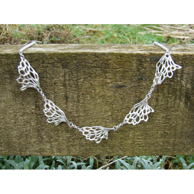 Gossamer Wave Necklace made from Sterling Silver with matching ring and bracelet available.