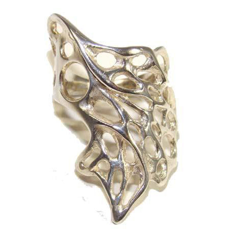Wavy Gossamer Ring handcrafted from Sterling Silver with filigree Gossamer Detailing.
