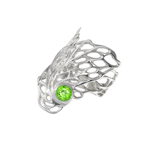 Ethereal Gossamer Ring with a 6mm Peridot Gemstone setting.