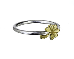 Sterling silver ring with a 9ct Gold Shamrock.