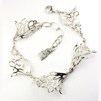 Gossamer Wave Bracelet handcrafted from Sterling Silver by Irish Jewellery Designer Elena Brennan.