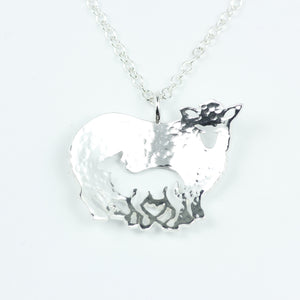Mother and Lamb Pendant handcrafted from sterling silver with matching sheep brooch available.