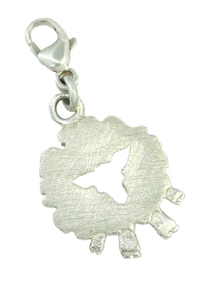 White Front Face Sheep Charm, handcrafted from sterling silver, a lovely addition to a charm bracelet.
