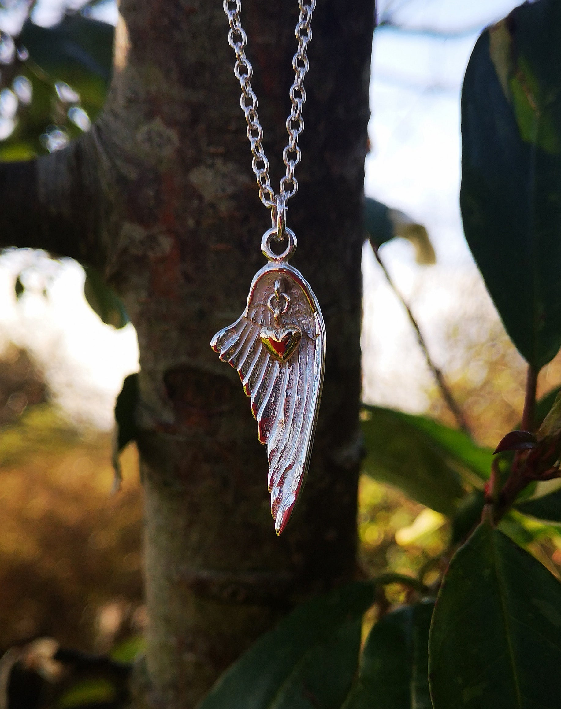 Angel Wing With 14ct Gold Heart Pendant