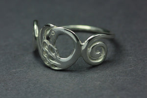 Spiral detail of the Disc Swan Ring, part of the Children of Lir Jewelry Collection, a perfect occasion gift!