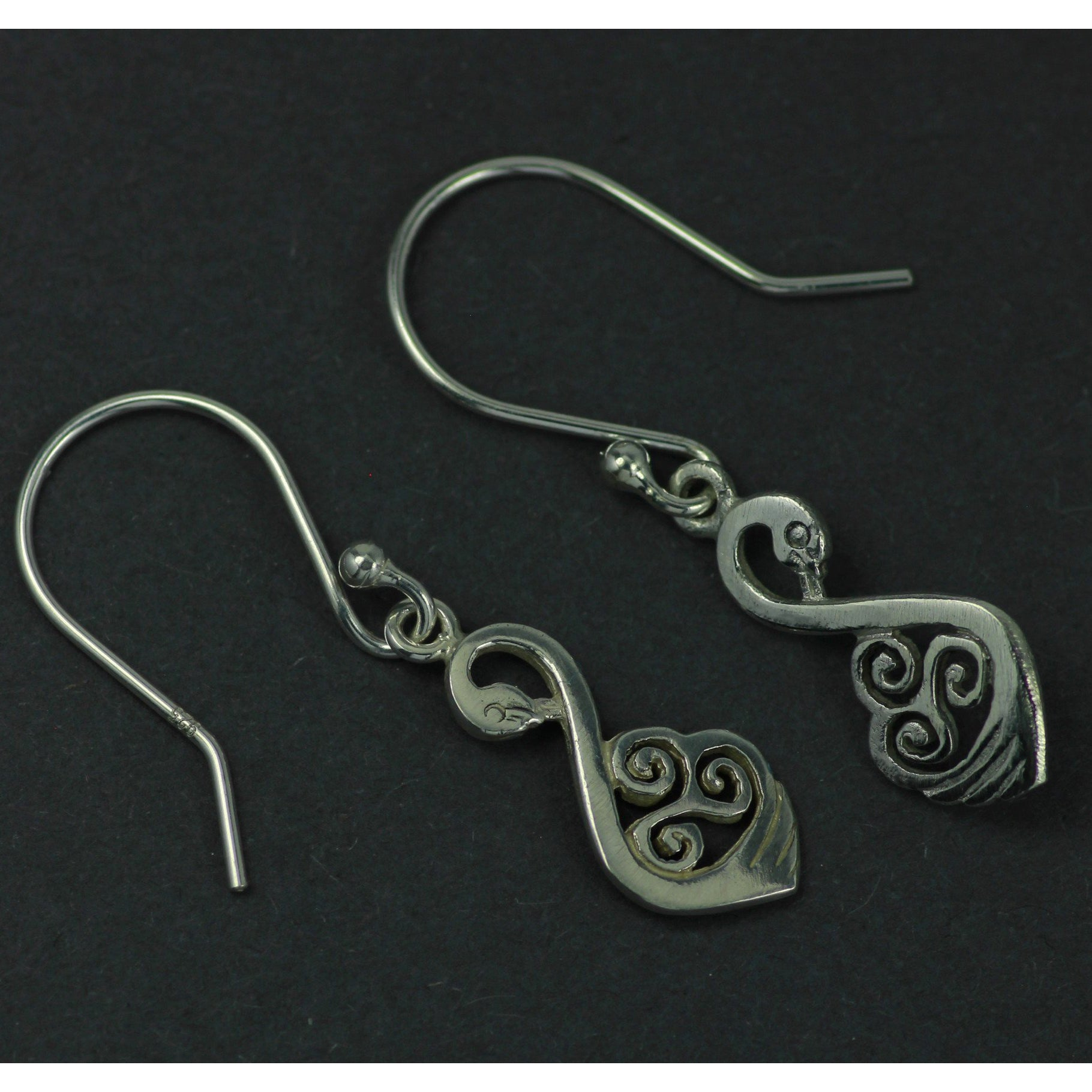 Celtic Swan Drop Earrings, available as a jewelry set with matching pendant! A beautiful sterling silver gift for a special someone!