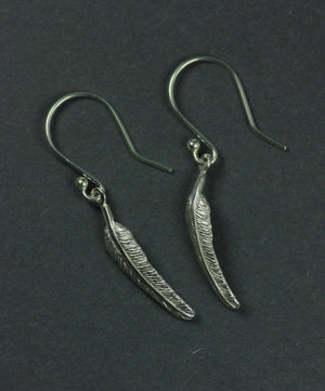 The tiny feather drop earrings are a special gift from the angels.
