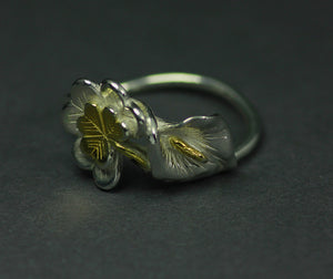 Rebirth of a Nation Lily Ring detailing from the side, handcrafted Irish Jewellery.