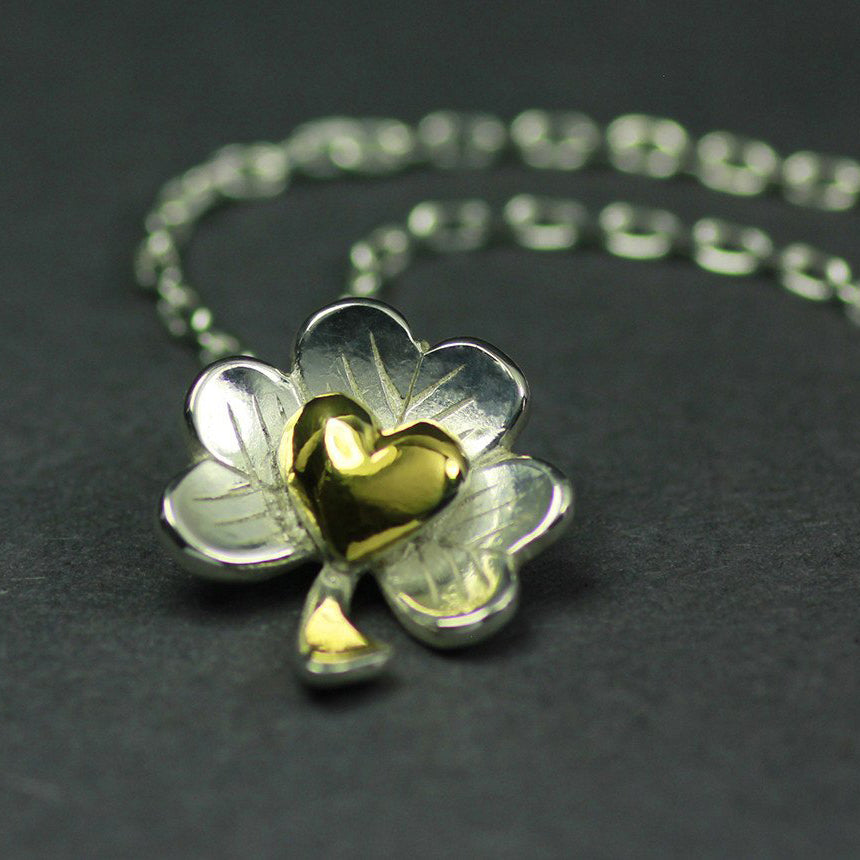 Love of Ireland Pendant (Grá na hÉireann) handcrafted with Sterling Silver with gold plated detailing.
