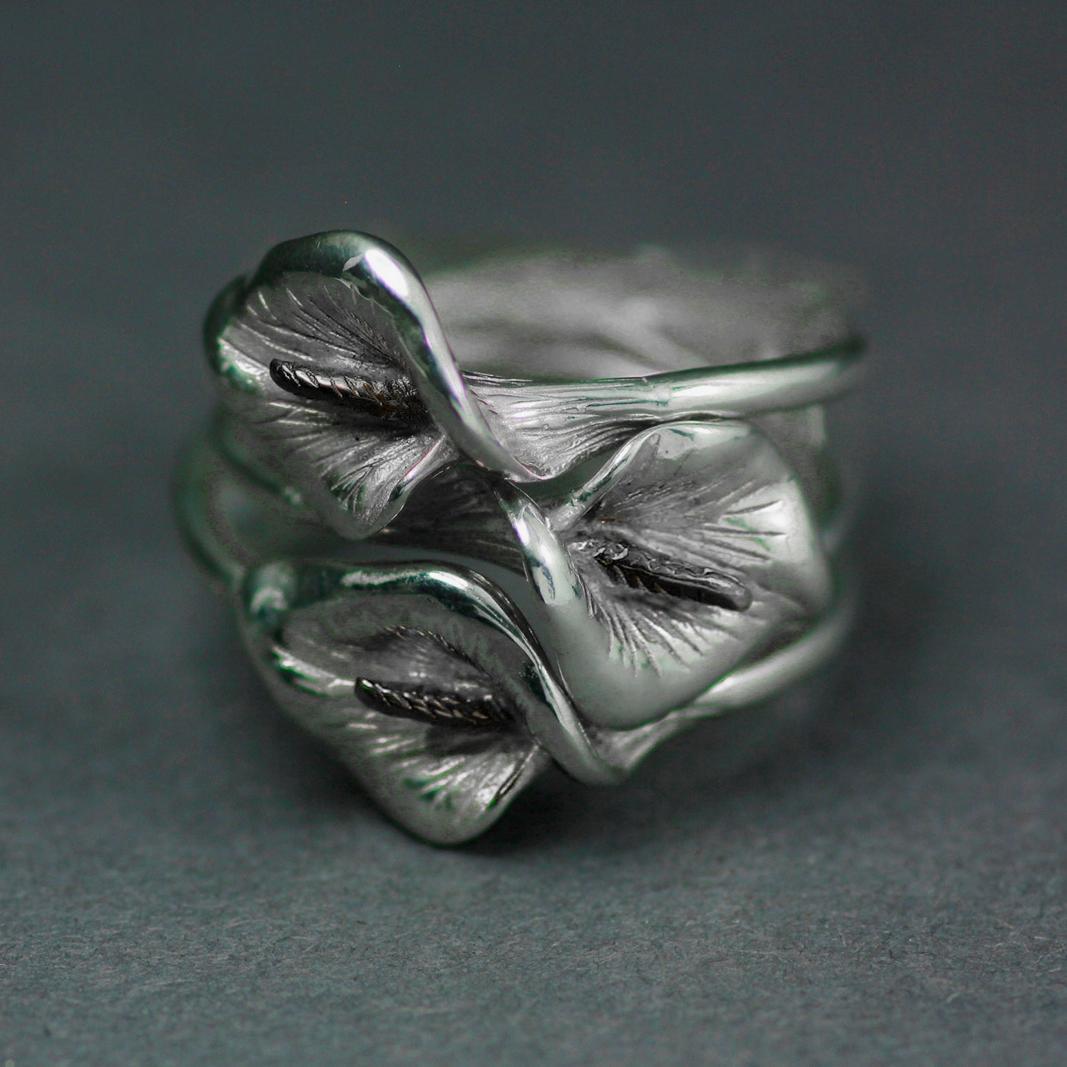 Trinity Lily Ring is beautifully handcrafted from Sterling Silver by Elena Brennan.