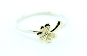 Beaten Stacking Bangle with 9ct Gold Shamrock symbol.