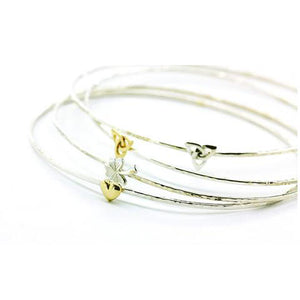 Beaten Stacking Bangles + 9ct Gold Symbol Options stacked together