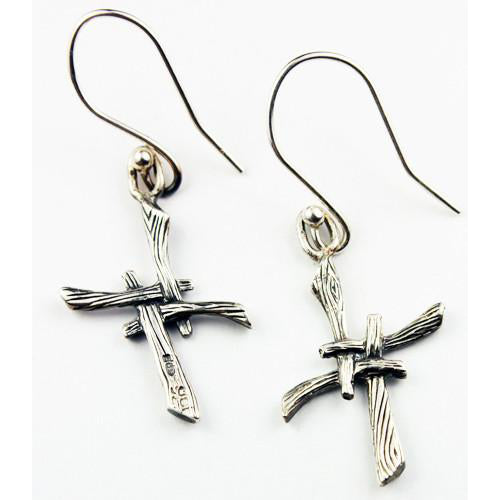 St. Bridgets Cross Drop Earrings, handcrafted from Sterling Silver as part of Elena's My Angel Collection.