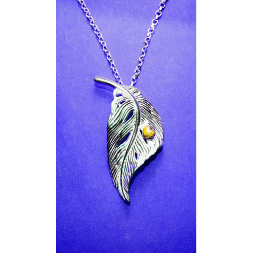 Angel Feather Heart Pendant with Gold detailing, it is the perfect gift filled with love!