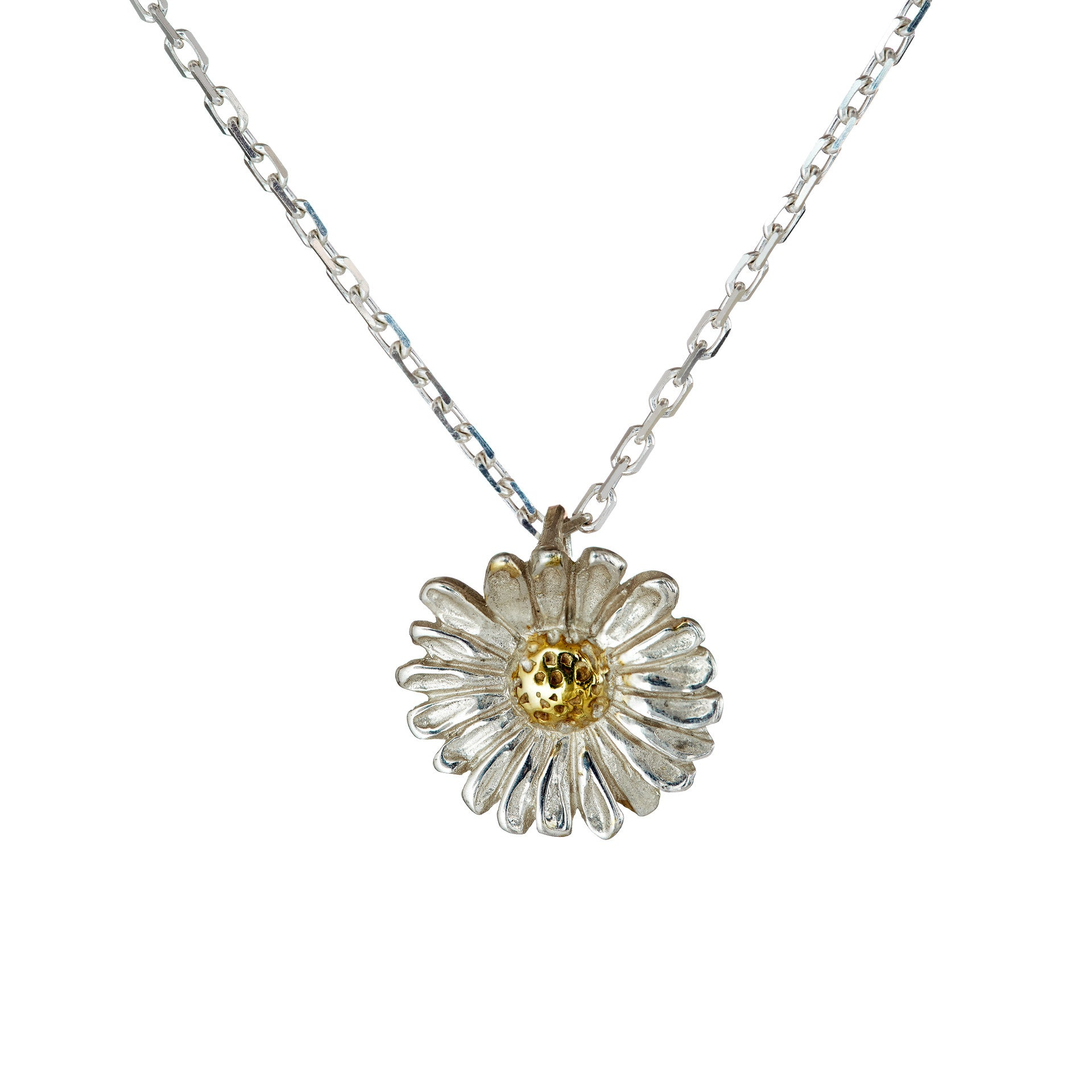 out cut silver pendant sterling small daisy index