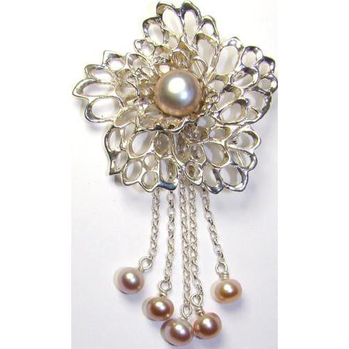 Lacy Flower Pearl Drop Chains Gossamer Brooch handcrafted from Sterling Silver by Elena Brennan Jewellery.