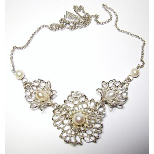 Petals & Pearls Gossamer Necklace handcrafted from Sterling Silver and complete with Fresh Water Pearls.