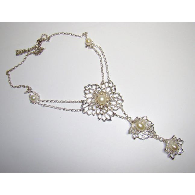 Petals & Pearls Drop Gossamer Necklace handcrafted from Sterling Silver, a gorgeous heirloom.