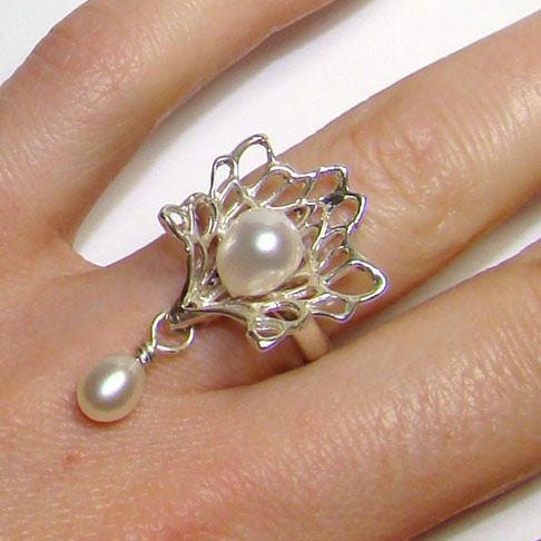 Petals & Pearls Gossamer Ring + Drop Pearl