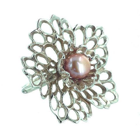 Petals & Pearls Lacy Flower Ring handcrafted from Sterling Silver.