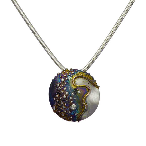 Cúrsa an tSaoil  medium domed pendant with a Patinated Silver finish.
