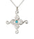 Swan Cross Pendant. Sterling Silver with turquoise gemstone detail.