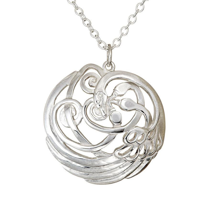 Sterling Sliver Swan Pendant, Spirals and Irish Celtic inspired necklace.
