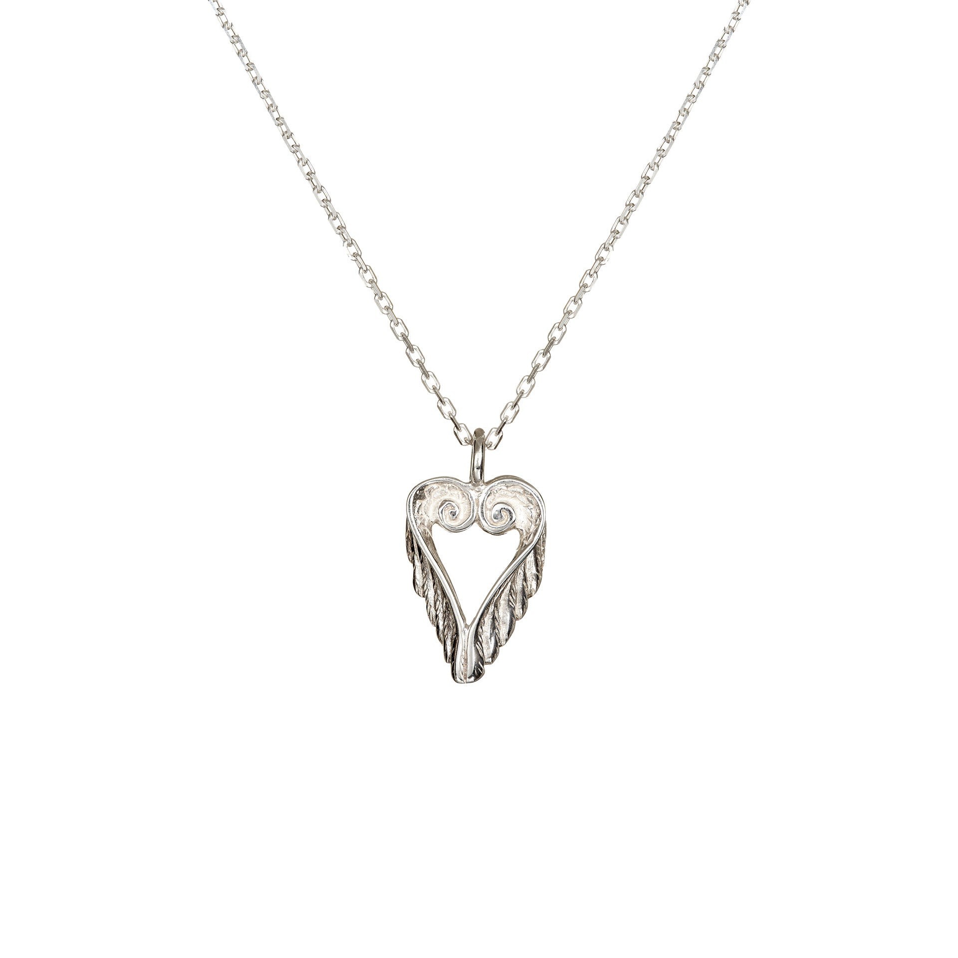 Celtic Heart Angel Wings Pendant with a sterling silver chain, beautiful jewelry perfect as a gift for a loved one.