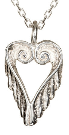 Celtic Heart Angel Wings Pendant with a sterling silver chain, beautiful handmade jewelry perfect as a gift for a loved one.