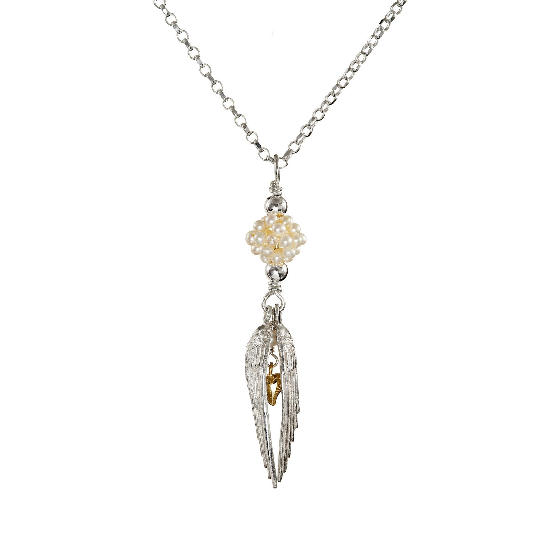 Angel Protection Pendant with a gold heart and gemstone beading, this special piece of jewelry makes the perfect gift!