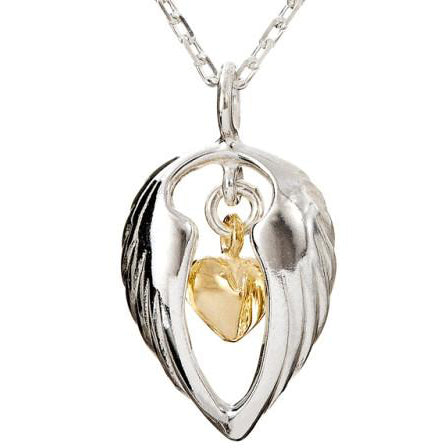 Sterling silver Angel Hug Pendant with angel wings embracing a gold heart detailing in the centre, its a special gift to show your love!