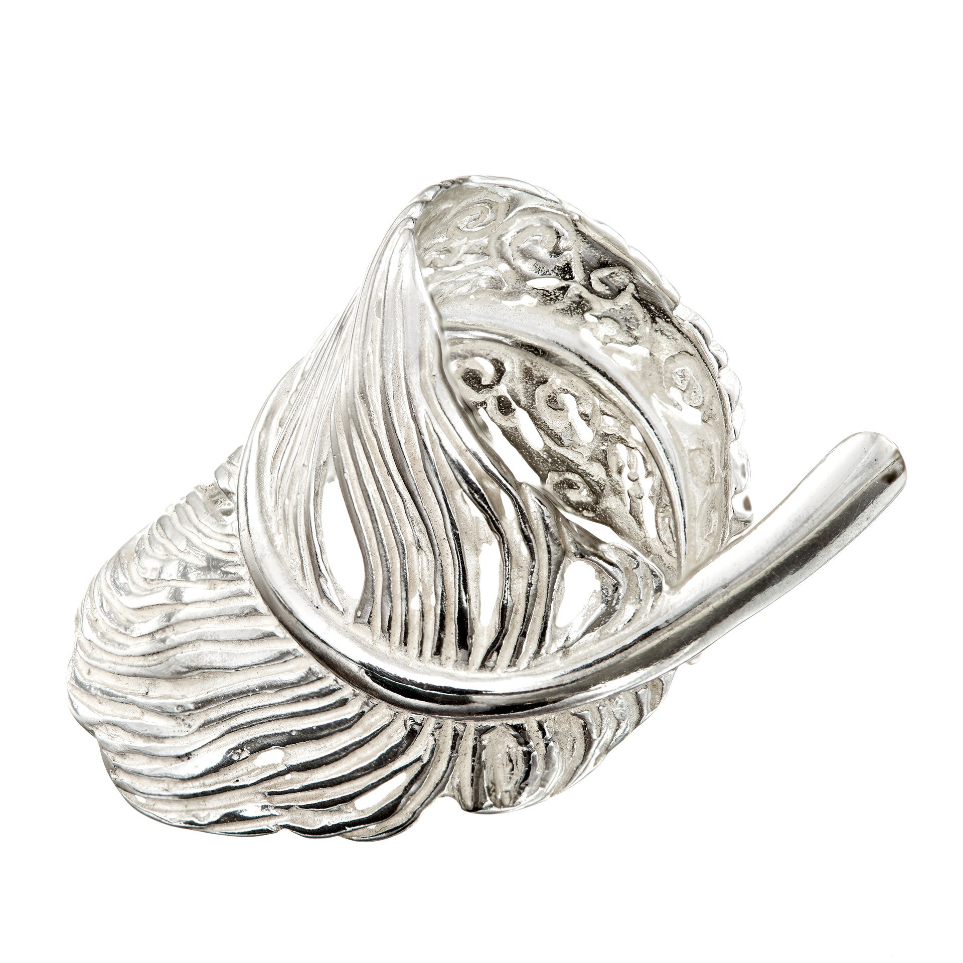 Sterling Silver Angel Feather Ring, handcrafted jewellery made in Ireland.