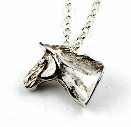 Horse head pendant sterling silver made by Elena Brennan Cavan Ireland.