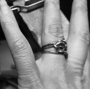 A close up of the Trinity Lily Ring to show the fit, style and sizing of the ring.