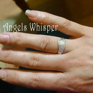 The right hand Tiny Angel Wings Whisper ring, available for both hands, ensuring the angel wing is pointing inwards always!