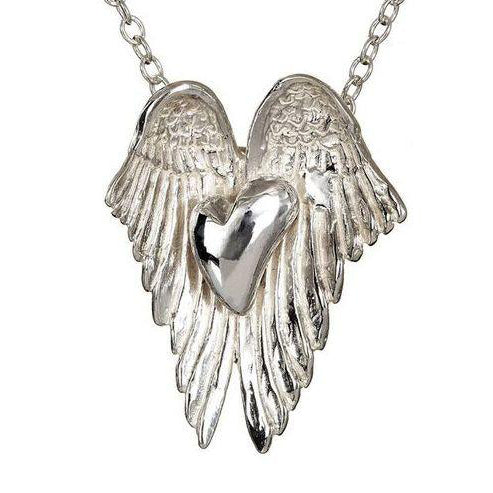 Sterling Silver Angel Heart Wings Pendant is the perfect gift for that someone special, also available with a gold heart!