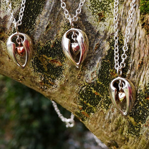 The Angel Hug pendant with different styles of hearts is part of the My Angel Jewellery Collection handmade by Elena Brennan.