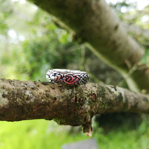 The Celtic Wedding Band perched on a the branch of a tree outside Irish Jewellery Designers Elena Brennan's studio.