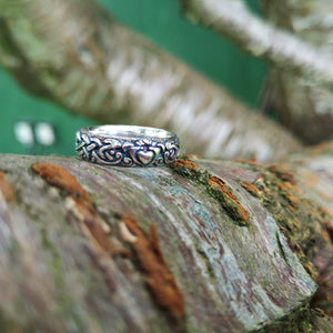 A closer look at the Irish claddagh wedding band handmade from Sterling Silver by Elena Brennan Jewellery.