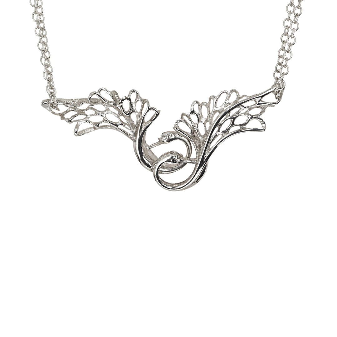Children of Lir Loving Double Swan Pendant Jewelry on Sterling Silver Chain.