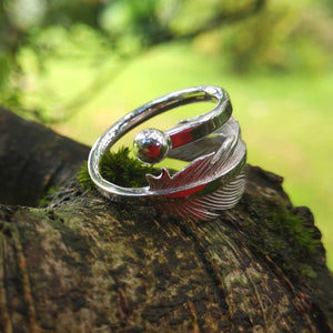 Earth Angel Feather Ring handcrafted in sterling silver by Elena Brennan Jewellery.